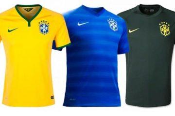 três uniformes da seleção na Copa de 2014