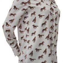 camisa de seda com estampa de cavalos