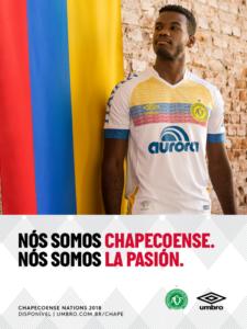 Camisa da Chapecoense em homenagem à seleção da Colômbia, que está na Copa do Mundo
