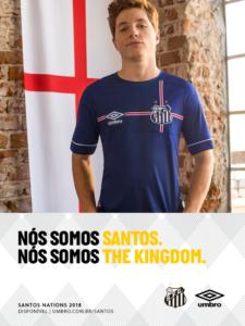 Camisa do Santos em homenagem à seleção da Inglaterra, que está na Copa do Mundo