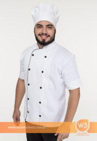 Dolmã De Cozinheiro Branca Com Detalhes Pretos