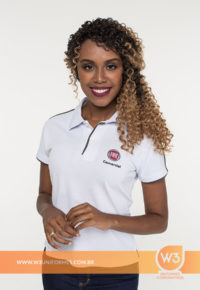 Blusa Gola Pólo Branca Para Uniforme - Fiat