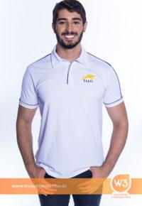 Camisa Pólo Em Malha Piquet Branca Com Detalhe - Cepel