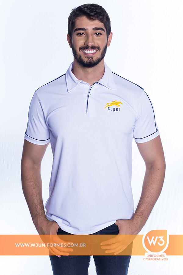 199cbfbf58 Camisa Pólo Em Malha Piquet Branca Com Detalhe - Cepel. Camisa Pólo Em  Malha Piquet Branca Com Detalhe - Cepel