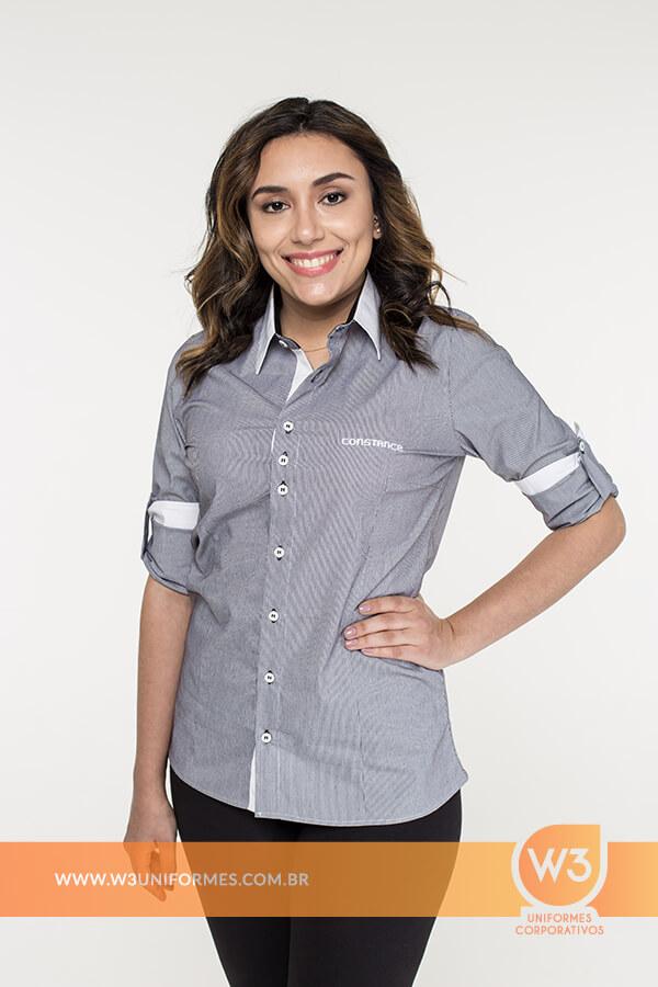 Camisa Social Feminina Listrada - Constance b348df8b46872