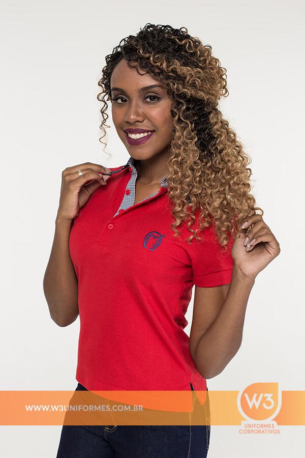 Camisa Gola Pólo Feminina Vermelha - Mangalarga