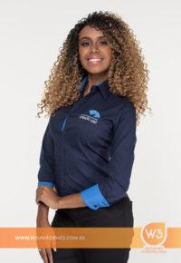 Camisa Social Feminina Azul Marinho - Missão Paz