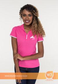 Camisa Gola Pólo Rosa - Campolina Rosa
