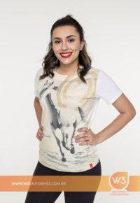Camiseta Feminina De Malha Com Estampa Total - Mangalarga Marchador
