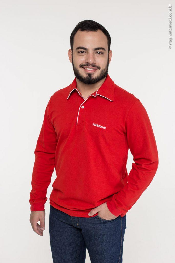 Blusa polo de uniforme com manga comprida para inverno